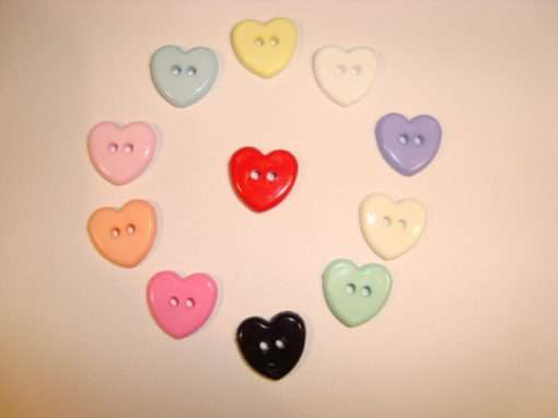 100 Flat two hole heart buttons | Bits and Bats | wholesale